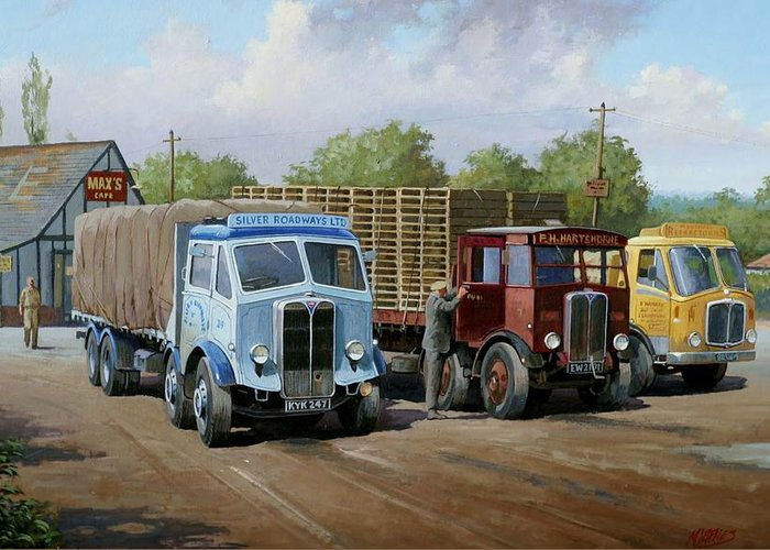 Ransport Cafe Greeting Card featuring the painting Max's Transport Cafe by Mike Jeffries