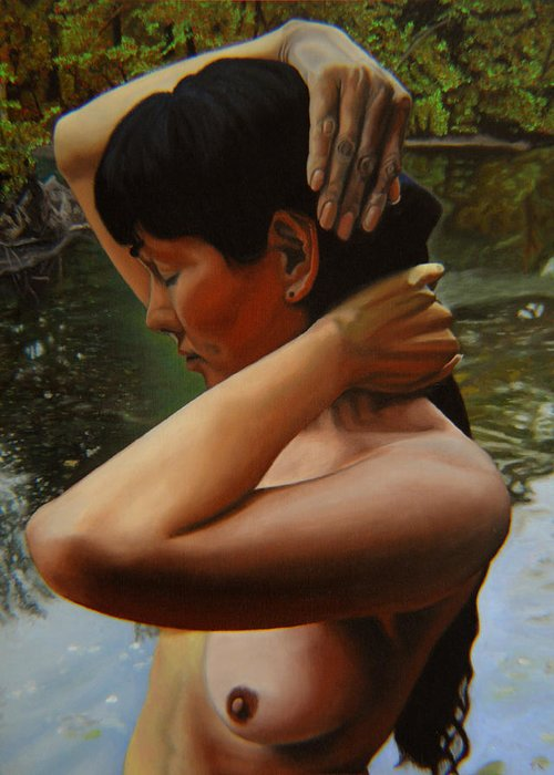 Bather Greeting Card featuring the painting May Morning Arkansas River 3 by Thu Nguyen