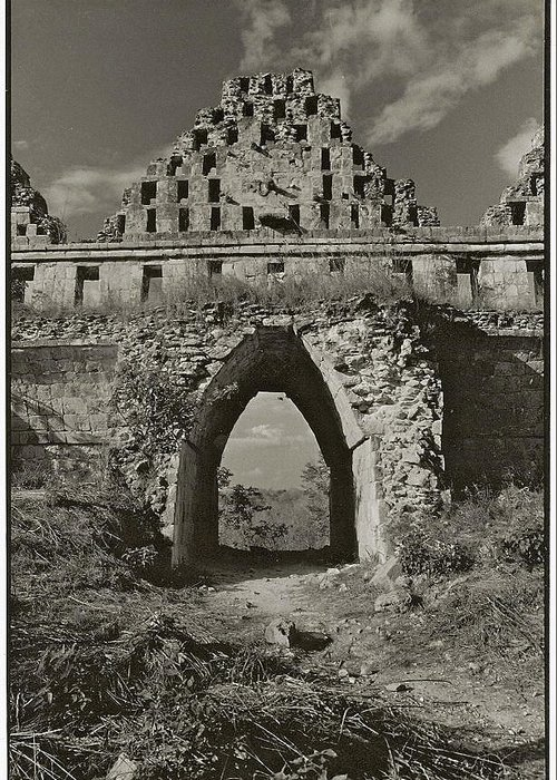 Uxmal Greeting Card featuring the photograph Mayan Arch At Uxmal by Howard Dratch