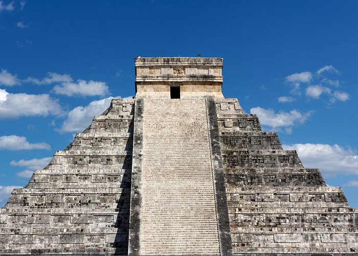 America Greeting Card featuring the photograph Mayan Temple Pyramid At Chichen Itza by Jannis Werner