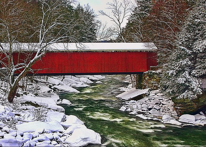 Landscape Greeting Card featuring the photograph Mcconnells Covered Bridge by Marcia Colelli