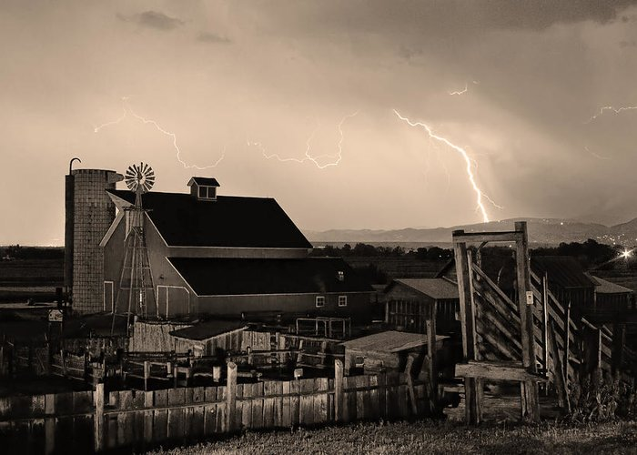 Lightning Greeting Card featuring the photograph Mcintosh Farm Lightning Sepia Thunderstorm by James BO Insogna