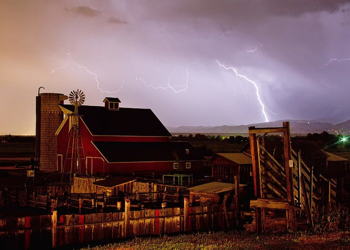 Lightning Greeting Card featuring the photograph Mcintosh Farm Lightning Thunderstorm by James BO Insogna