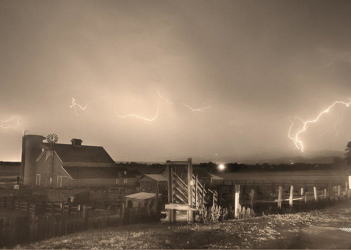 Lightning Greeting Card featuring the photograph Mcintosh Farm Lightning Thunderstorm View Sepia by James BO Insogna