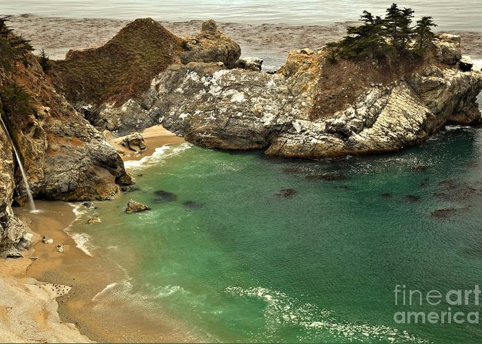 Mcway Falls Greeting Card featuring the photograph Mcway Falling Into The Pacific by Adam Jewell