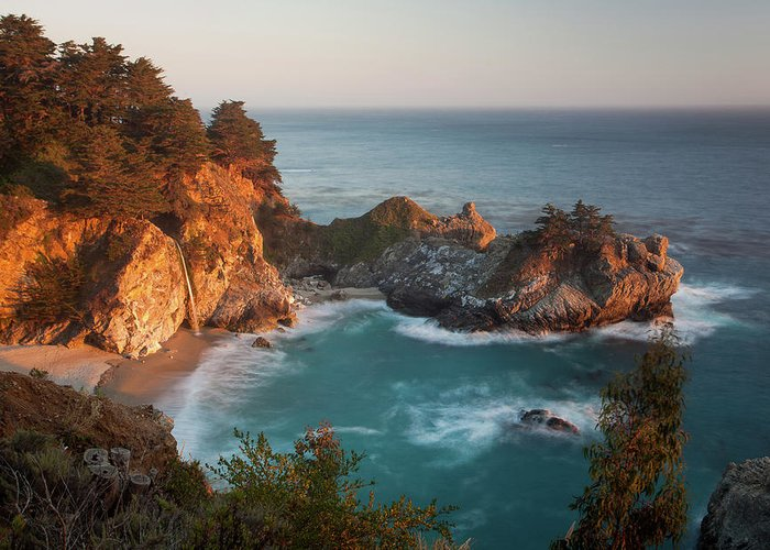Scenics Greeting Card featuring the photograph Mcway Falls At Sunset by Sean Duan