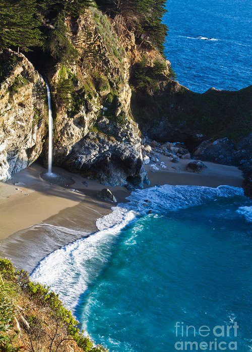 Bay Greeting Card featuring the photograph Mcway Falls Julia Pfeiffer Bruns State Park Ca by Dan Hartford