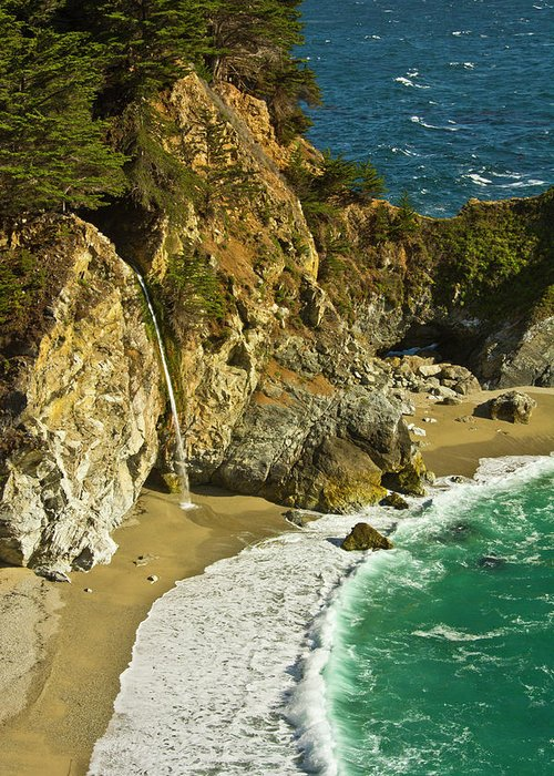 Afternoon Greeting Card featuring the photograph Mcway Falls, Julia Pfeiffer Burns State by Michel Hersen
