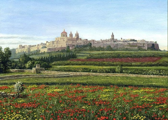 Landscape Greeting Card featuring the painting Mdina Poppies Malta by Richard Harpum