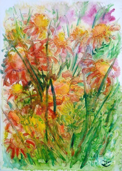 Meadow Flowers Greeting Card featuring the painting Meadow Flowers by Zaira Dzhaubaeva