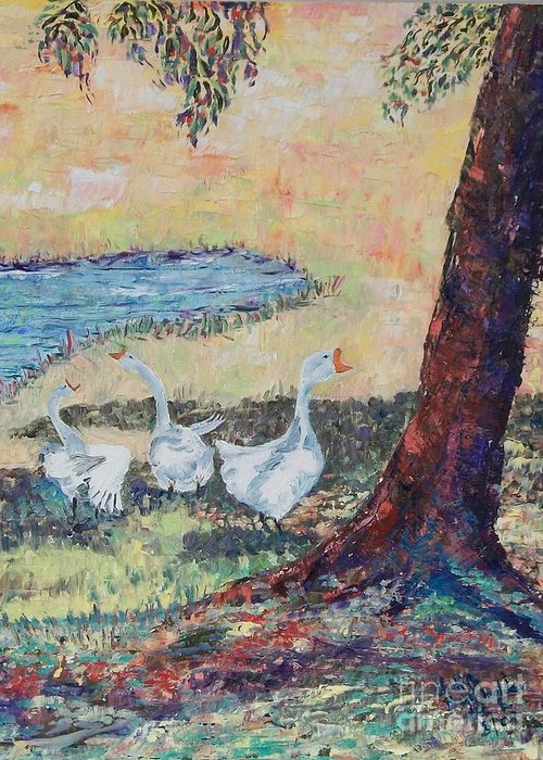 Meadow Greeting Card featuring the painting Meadow Geese - SOLD by Judith Espinoza
