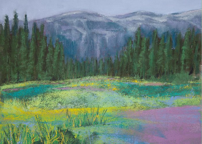 Cascade Mountain Meadow Greeting Card featuring the painting Meadow In The Cascades by David Patterson
