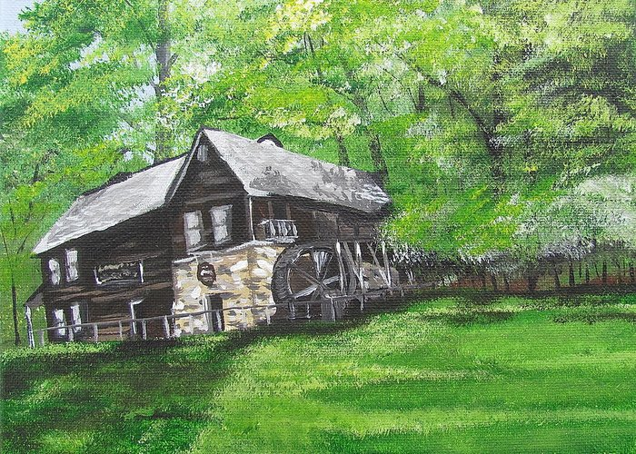 Mill Greeting Card featuring the painting Meadow Run Mill by Michelle Young