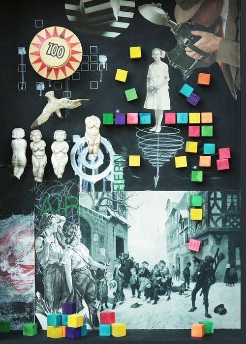 Assemblage Sculpture Greeting Card featuring the sculpture Mechanics Of Pain C2013 by Paul Ashby