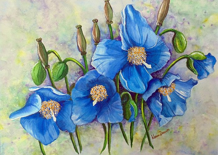 Blue Hymalayan Poppy Greeting Card featuring the painting Meconopsis  Himalayan Blue Poppy by Karin Dawn Kelshall- Best