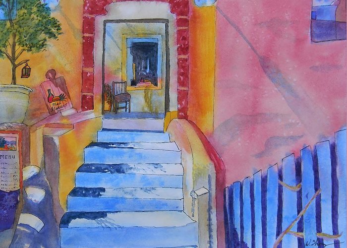 Med Flavours In Santorini Greeting Card featuring the painting Med Flavours In Santorini by Warren Thompson