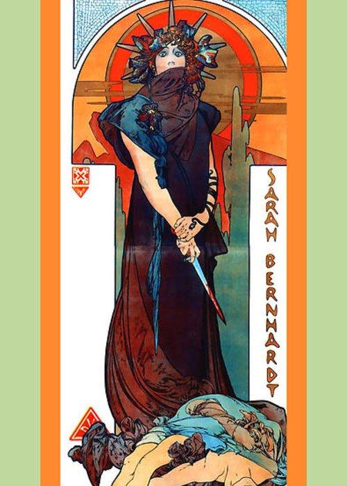 Alphonse Maria Mucha Greeting Card featuring the digital art Medee by Alphonse Maria Mucha