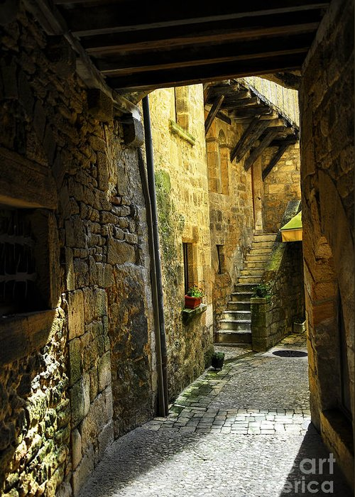 Sarlat Greeting Card featuring the photograph Medieval Courtyard by Elena Elisseeva