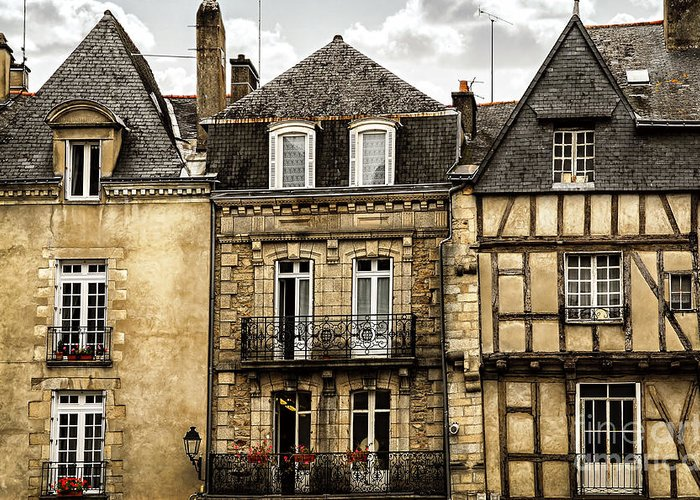 Vannes Greeting Card featuring the photograph Medieval Houses In Vannes by Elena Elisseeva