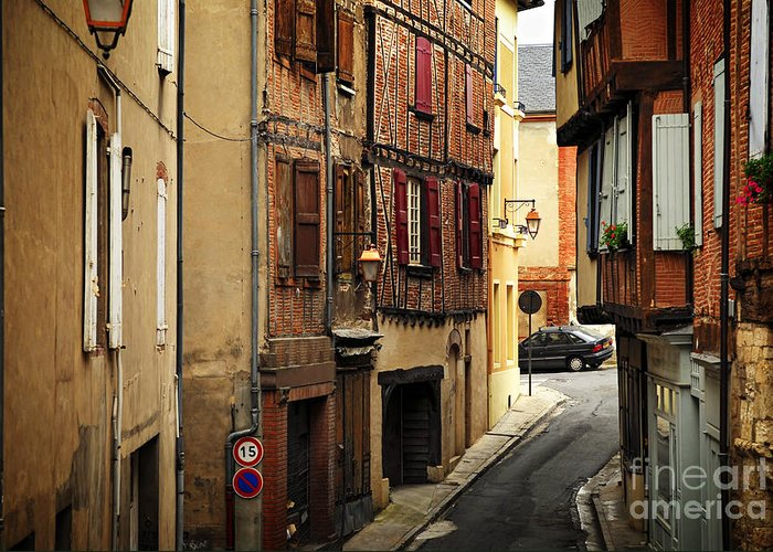 Albi Greeting Card featuring the photograph Medieval Street In Albi France by Elena Elisseeva