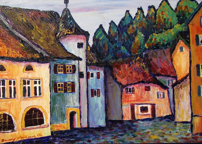 Medieval Greeting Card featuring the painting Medieval Village Of St. Ursanne Switzerland by Art Nomad Sandra Hansen