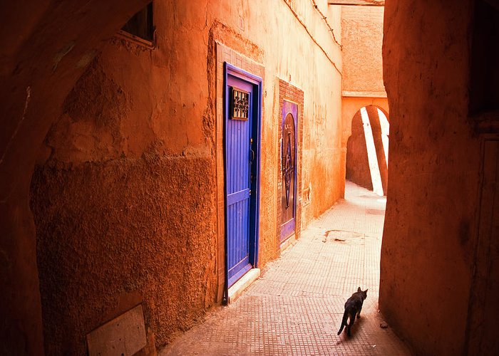 Arch Greeting Card featuring the photograph Medina Of Marrakesh by Moreiso