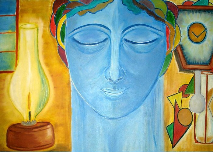 A Blue Face Greeting Card featuring the painting Meditating Thoughts by Minakshi Sanyal Chakraborty