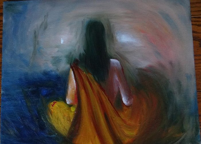 Meditation Greeting Card featuring the painting Meditating Woman by Archana Santra