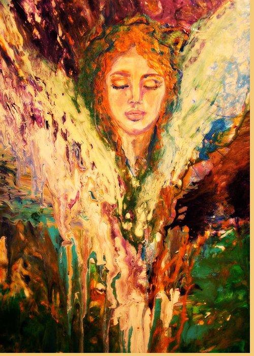 Meditation Greeting Card featuring the painting Meditation by Alma Yamazaki
