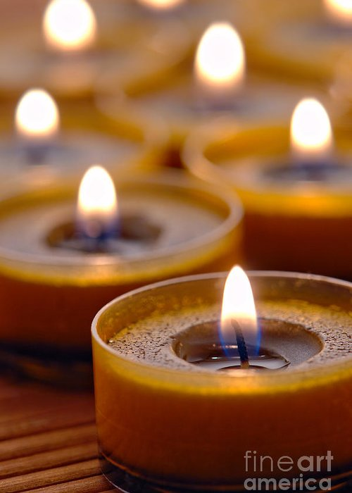 Candle Greeting Card featuring the photograph Meditation Candles Path by Olivier Le Queinec