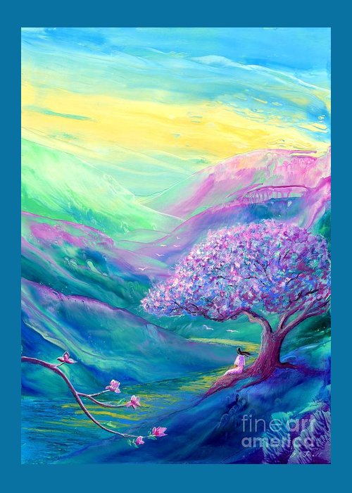 Magnolia Greeting Card featuring the painting Meditation In Mauve by Jane Small
