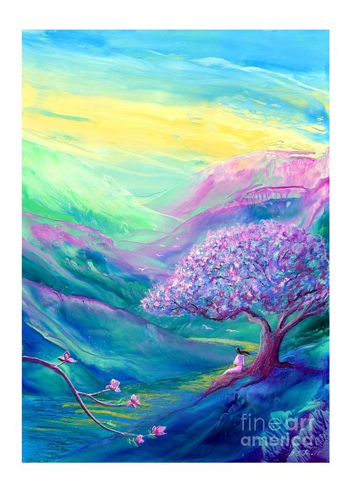 Meditation Greeting Card featuring the painting Meditation in Mauve by Jane Small