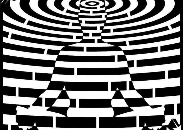 Meditation Greeting Card featuring the drawing Meditation Maze by Yonatan Frimer Maze Artist
