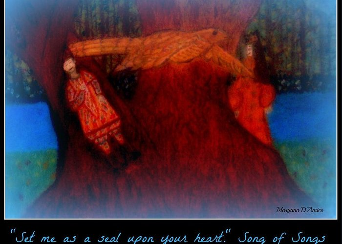Song Of Songs Greeting Card featuring the pastel Meditation Number 3 Song Of Songs by Maryann DAmico