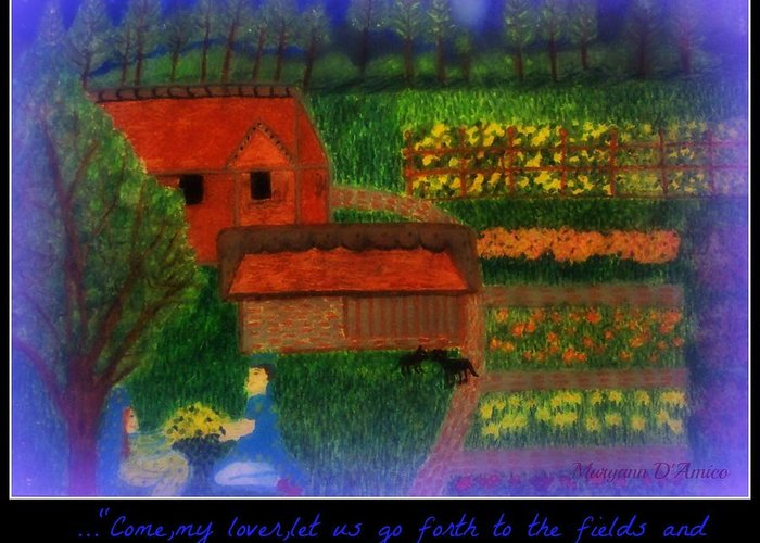 Garden At Night Greeting Card featuring the pastel Meditation Number 4 Song Of Songs by Maryann DAmico
