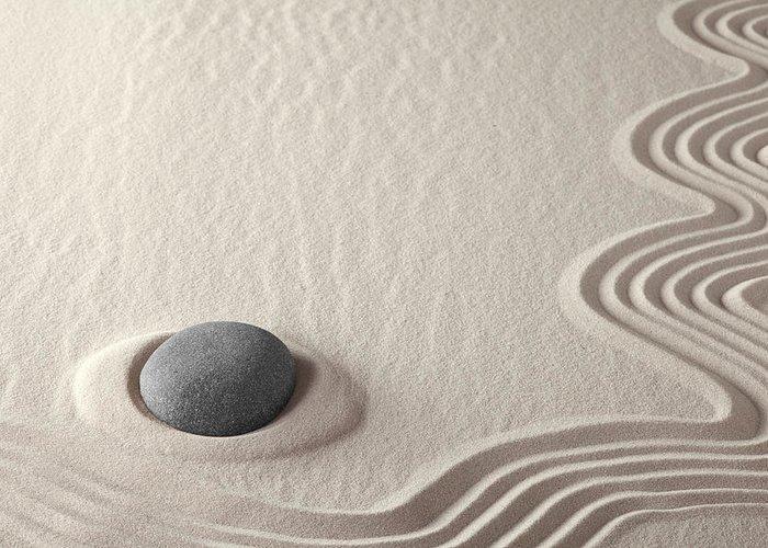 Meditation Stone Greeting Card featuring the photograph Meditation Stone Zen Rock Garden by Dirk Ercken