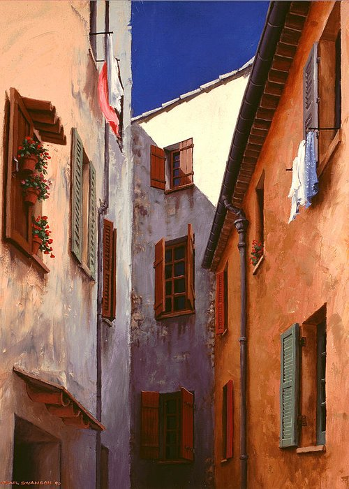 French Greeting Card featuring the painting Mediterranean Blue by Michael Swanson