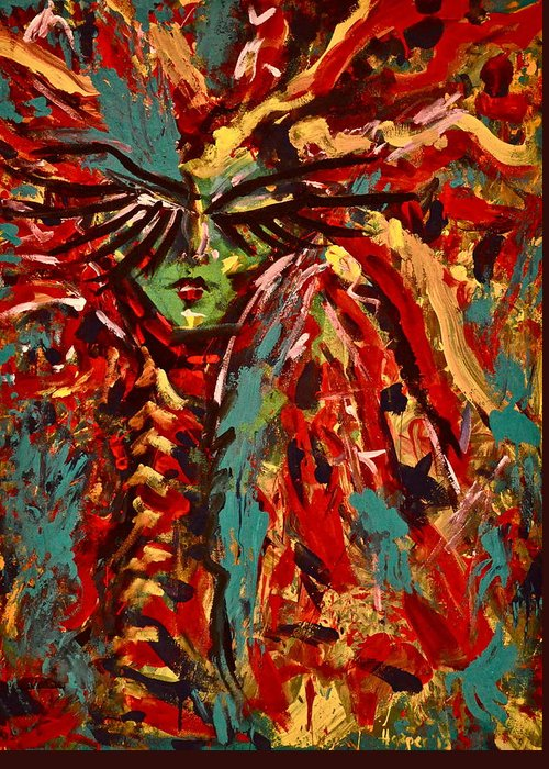 Woman Greeting Card featuring the painting Medusa by Jennifer Anne Harper