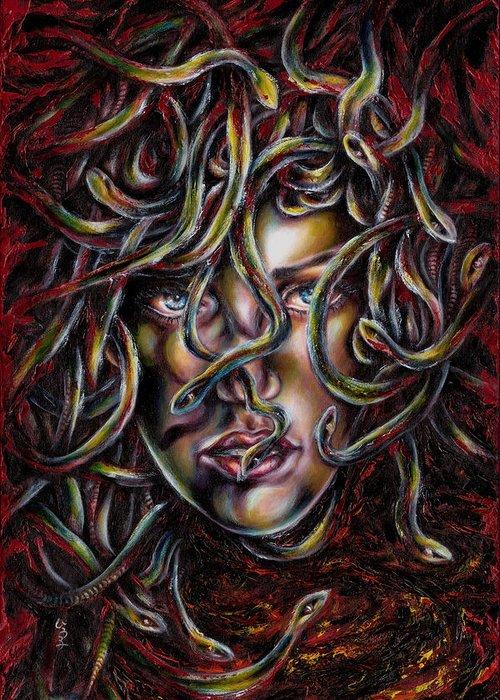 Medusa Greeting Card featuring the painting Medusa No. Three by Hiroko Sakai