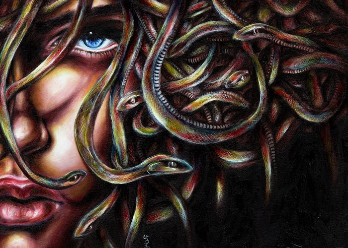 Medusa Greeting Card featuring the painting Medusa No. Two by Hiroko Sakai