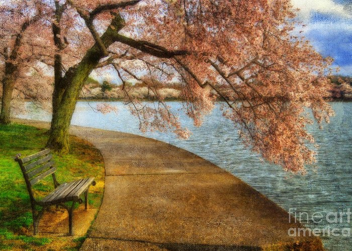 Bench Greeting Card featuring the photograph Meet Me At Our Bench by Lois Bryan