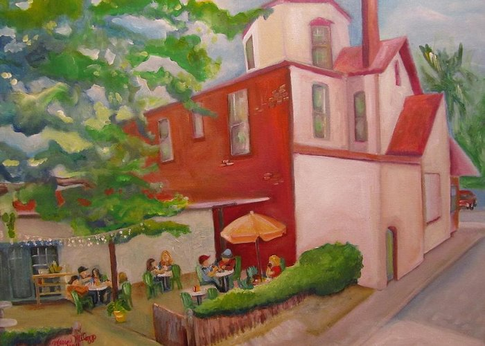 St. Augustine Greeting Card featuring the painting Meet Me At Schmagel's by Maria Milazzo