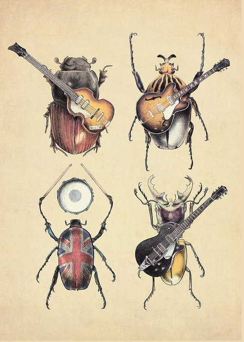 Beatles Greeting Card featuring the digital art Meet the Beetles by Eric Fan