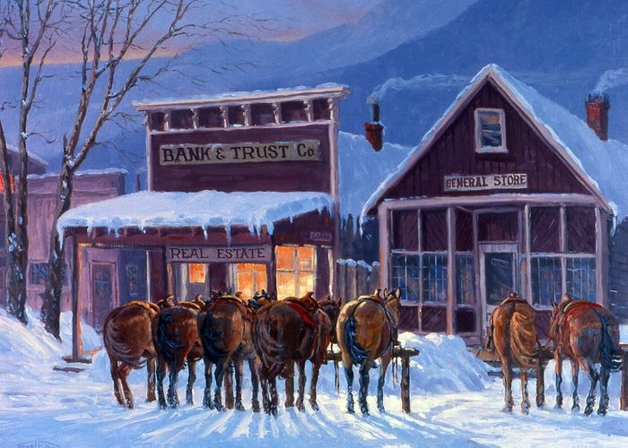 Snow Greeting Card featuring the painting Meeting Of The Board by Randy Follis
