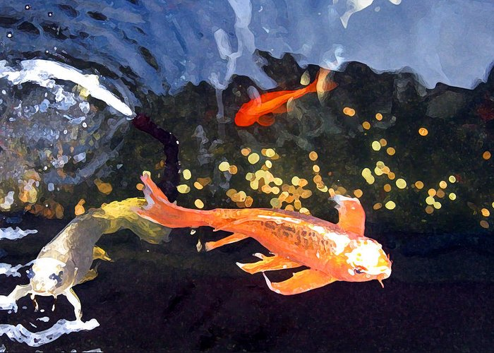 Fish Greeting Card featuring the mixed media Meetings On The Riverbank by Patricia Januszkiewicz