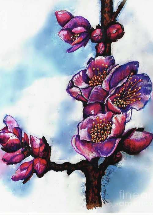 Floral Painting Greeting Card featuring the painting Mei by Linda Simon