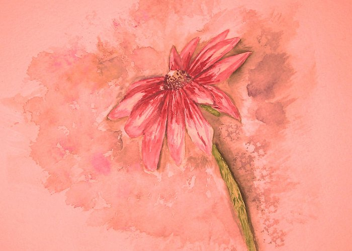 Watercolor Greeting Card featuring the painting Melancholoy by Crystal Hubbard