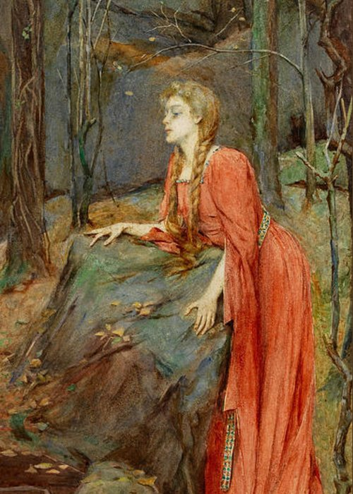 Melisande Greeting Card featuring the painting Melisande by Henry Meynell Rheam