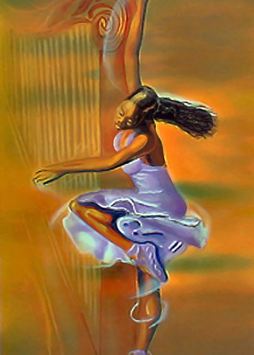 Melody Meridian Greeting Card featuring the painting Melody Meridian by Fli Art