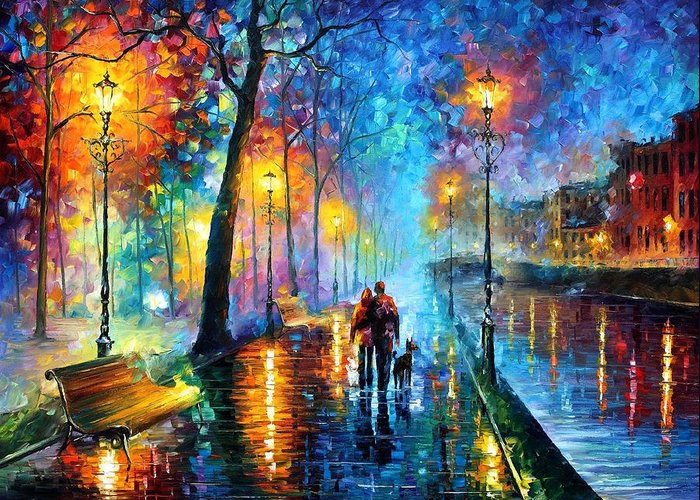 Leonid Afremov Greeting Card featuring the painting Melody Of The Night - Palette Knife Landscape Oil Painting On Canvas By Leonid Afremov by Leonid Afremov